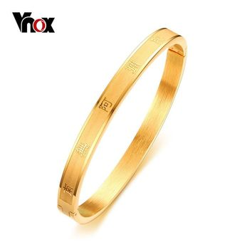 Vnox Womens Buddhism Text Engraved Bracelet Gold Color Stainless Steel Bracelet Bangle Female Prayer Jewelry 60mm In Diameter