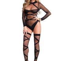 ONETOW The 2Pc. Opaque Sheer Criss Cross Body Suit And Matching in Black