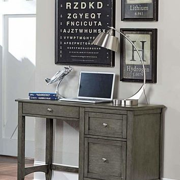 Wooden Writing Desk With Keyboard Tray And 2 Drawers, Gray