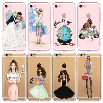 Sexy Summer Travel Girl drink Phone Case For Apple iPhone