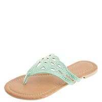 LASER CUT-OUT RHINESTONE THONG SANDALS