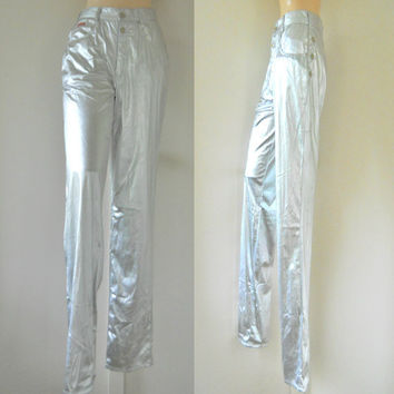90s Club Kid Rave Pants Raver Pants Raver Clothing Rave Clothing Women 90s Rave Clothes Metallic Pants Glam Rock Pants Silver Pants Shiny