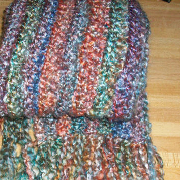 Multicolored Scarf in Soft Boucle Yarn, Handmade Crochet with Fringe