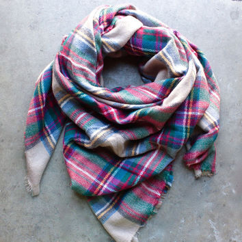 Women Men Oversize Plaid Blanket Scarf