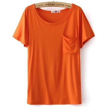 Summer Korean Cotton Stretch Short Sleeve With Pocket T-shirts [6048670913]