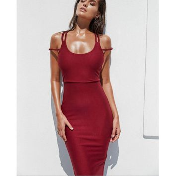 Fashion sexy double stripe show thin backless dress