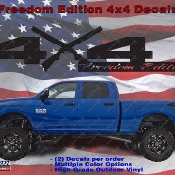4X4 Freedom Edition Shotgun Vinyl Decals Fits Dodge 2006-2016 1500 2500 3500