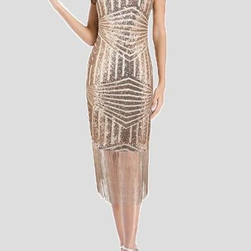 Champagne Patchwork Sequin Tassel Bodycon Sparkly New Year Eve Party Midi Dress