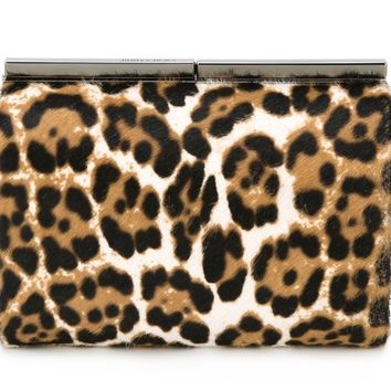 Jimmy Choo Cate Leopard Print Pony Hair Natural Clutch Case LOP 164