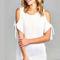Cold Shoulder Sleeve Tie Top in White