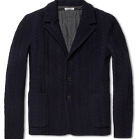Valentino Bonded Cable-Knit Wool and Cashmere-Blend Blazer | MR PORTER