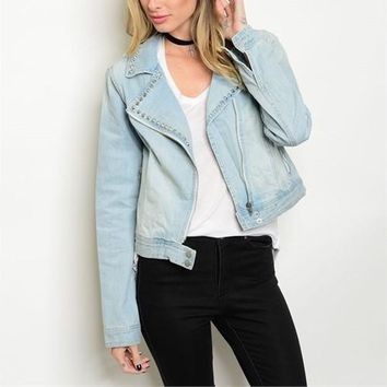 "Denim ""couture"" studded jacket"