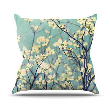 "Ann Barnes ""Pure"" Teal Floral Throw Pillow"