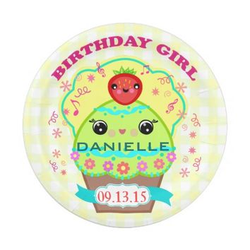 Custom Birthday Girl Kawaii Cupcake Paper Plates