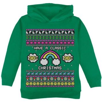 PEAPGQ9 Retro 90s Nostalgia Classic Ugly Christmas Sweater Toddler Hoodie