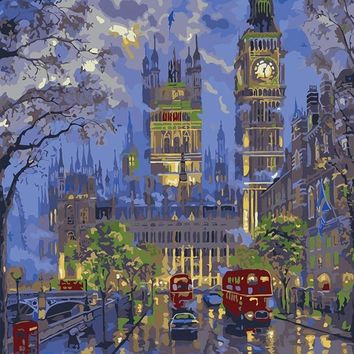 Paris London night view painting By Numbers picture modular DIY Oil Painting On Canvas Home cuadros Decor Wall Art 40X50CM