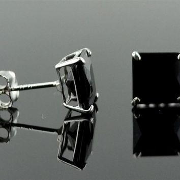 14K Solid White Gold Princess Square Black Onyx  CZ Stud Earrings Basket .