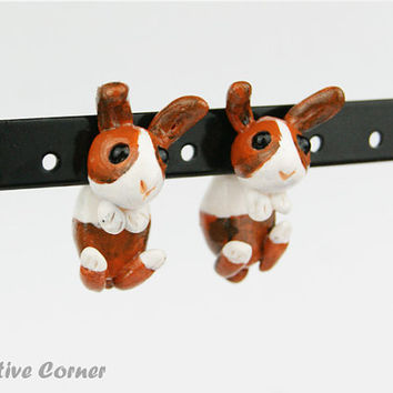 Custom Rabbit Two-Part Earrings, Fake gauges, Gift for pet lover, Personalized Earrings,  Made-to-order