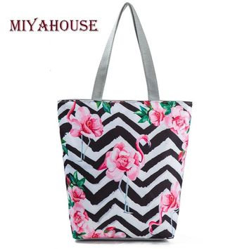 Miyahouse Striped And Flamingo Printed Shoulder Bag Female Canvas Design Summer Beach Bag Lady Daily Use Women Shopping Bag