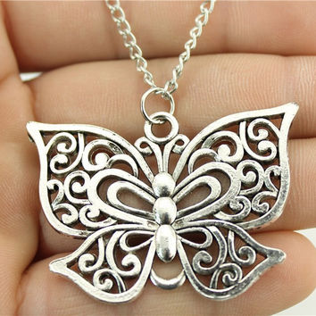 WYSIWYG  fashion antique silver tone 35*50mm butterfly pendant necklace, 70cm chain long necklace