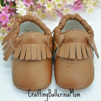 Baby Moccasins, Tan Baby Moccasins, Brown Baby Moccasins, Toddler Moccasins, Infant Moccasins, Crib Shoes, Baby Shower Shoes Gift, Baby Girl