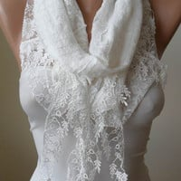 White Cotton and Lace Scarf with White Trim Edge - Lace Scarf - Gift