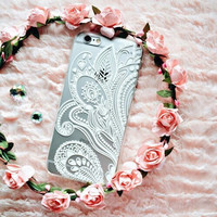 White Henna Swirl Floral Print See Through Clear Samsung S4 S5 S6 Hipster Phone Case