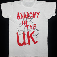 RARE VINTAGE 70's ANARCHY IN THE UK PUNK ROCK TOUR CONCERT PROMO T-SHIRT