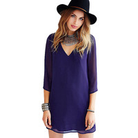 Purple  V-Neck Cut- Out Chiffon Mini Dress