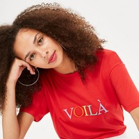 TALL 'Voila' Embroidered T-Shirt