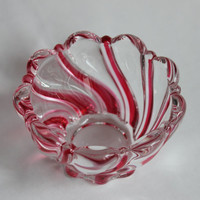 Hand Blown Murano Style Art Glass Bowl, Vintage Red and Clear Peppermint Christmas Dish, Votive Candle Holder