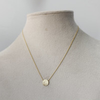 Brushed Circle / Textured O  necklace Pendant Necklace  -  Available color as listed ( Gold, Silver )