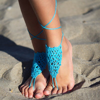 Turquoise Crochet Beach Wedding Bridal Shoes Summer Beach Foot Jewelry Barefoot Sandals  Turquoise