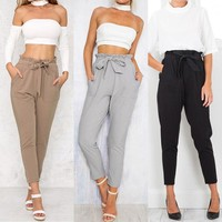 bow tie drawstring sweet elastic waist pockets casual trousers women OL chiffon high waist harem pants pantalones