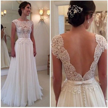 Homcoming Dress,White Lace Elegant V-back Wedding Prom Dress