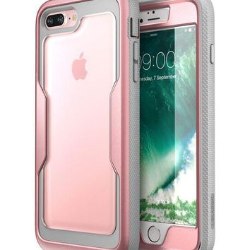 DCK4S2 i-Blason iPhone 8 Plus Case, [Heavy Duty Protection] [Magma Series] Shock Reduction / Full body Bumper Case with Built-in Screen Protector for iPhone 7 Plus 2016 / iPhone 8 Plus 2017 (RoseGold)
