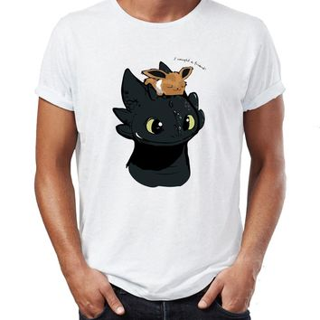 Men's T Shirt Toothless The Night Fury Dragon Hiccup Tardis Eevee Funny Crossover Artwork Awesome Tee