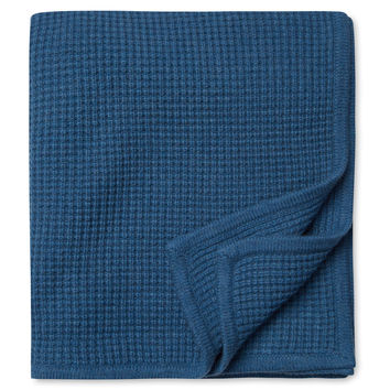Sofia Cashmere Thermal Cashmere Throw - Blue