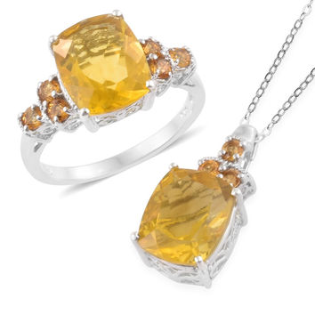 Canary Fluorite and Brazilian Citrine Ring  OR Matching Necklace