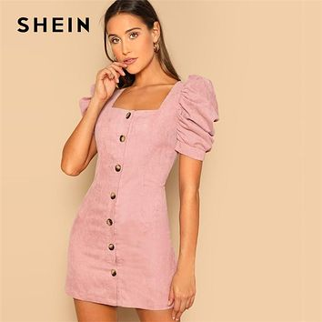 SHEIN Single Breasted Puff Sleeve Corduroy Fitted Short Sleeve D c5583cf670b1