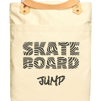 Skate Board Typography Print 100% Cotton Canvas Leather Straps Backpack WAS_34