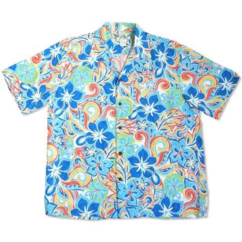 Seaglass Blue Hawaiian Rayon Shirt