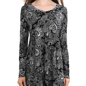 Women's V-neck Long Sleeves Vintage Floral T-Shirts Round Hem Stretchy Flare Loose Fit Tunic Tees Tops
