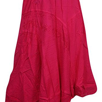 Womens Skirt Sexy Boho A Line Pink Embroidered Long Skirts S/M