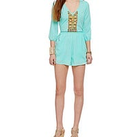 GB 3/4-Sleeve Embroidered Romper - Mint