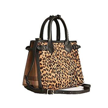 Tote Bag Handbag Authentic Burberry The Small Banner in Animal Print Calfskin Item 39906891 Made in Italy