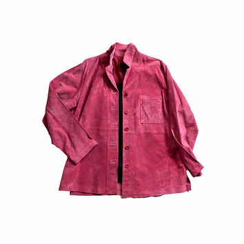 Vintage 1990s  Brandon Thomas Unconstructed Washable Suede Tunic Shirt Jacket with Breast Pocket Raspberry Pink Rose