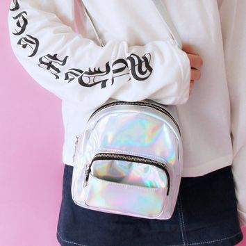 QWEEK 2017 Fashion New Women Hologram Backpack Laser Daypacks Silver Holographic Bag Fluorescence Mujer Bags Sequins Leisure