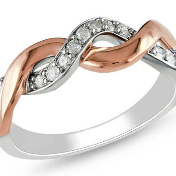 2 tone rose gold twist ring