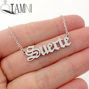 QIAMNI Personalized Custom Name Pendant Necklace Customized Cursive Letter Nameplate Necklace Handmade Love Birthday Gift